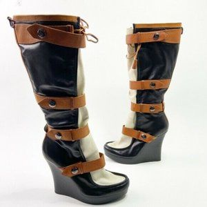 L.A.M.B. Chartres II Wedge Boots Leather Strappy